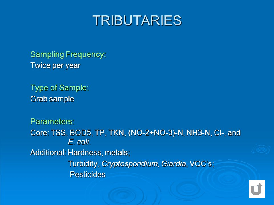 TRIBUTARIES Sampling Frequency: Type of Sample: Parameters: