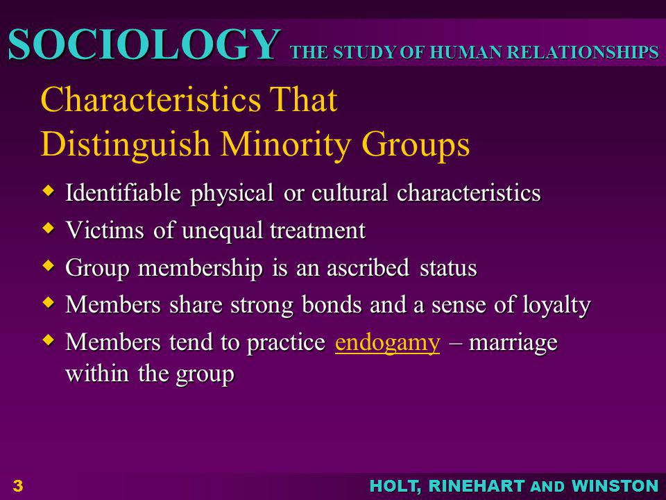 Characteristics That Distinguish Minority Groups