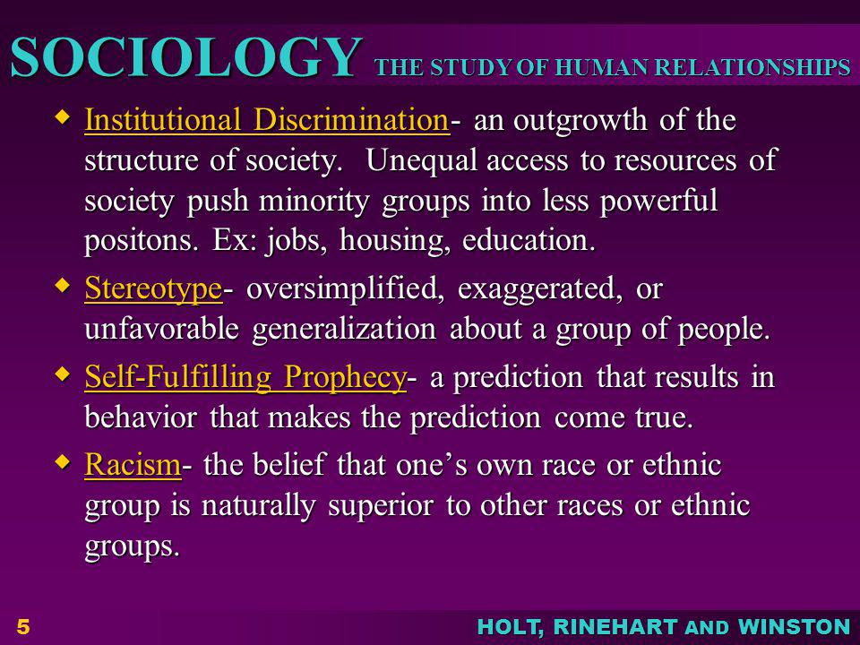 Institutional Discrimination- an outgrowth of the structure of society