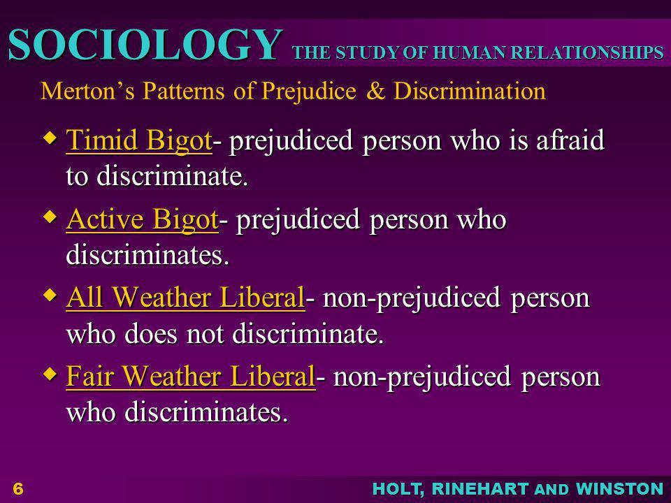 Merton's Patterns of Prejudice & Discrimination