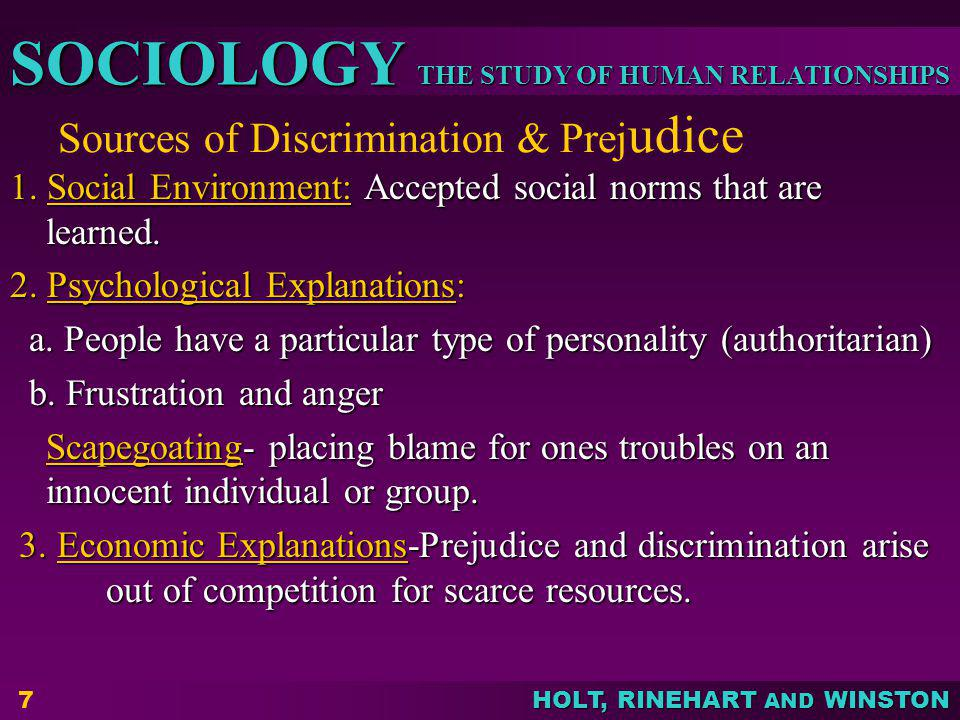 Sources of Discrimination & Prejudice