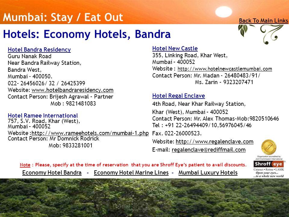 Hotels: Economy Hotels, Bandra