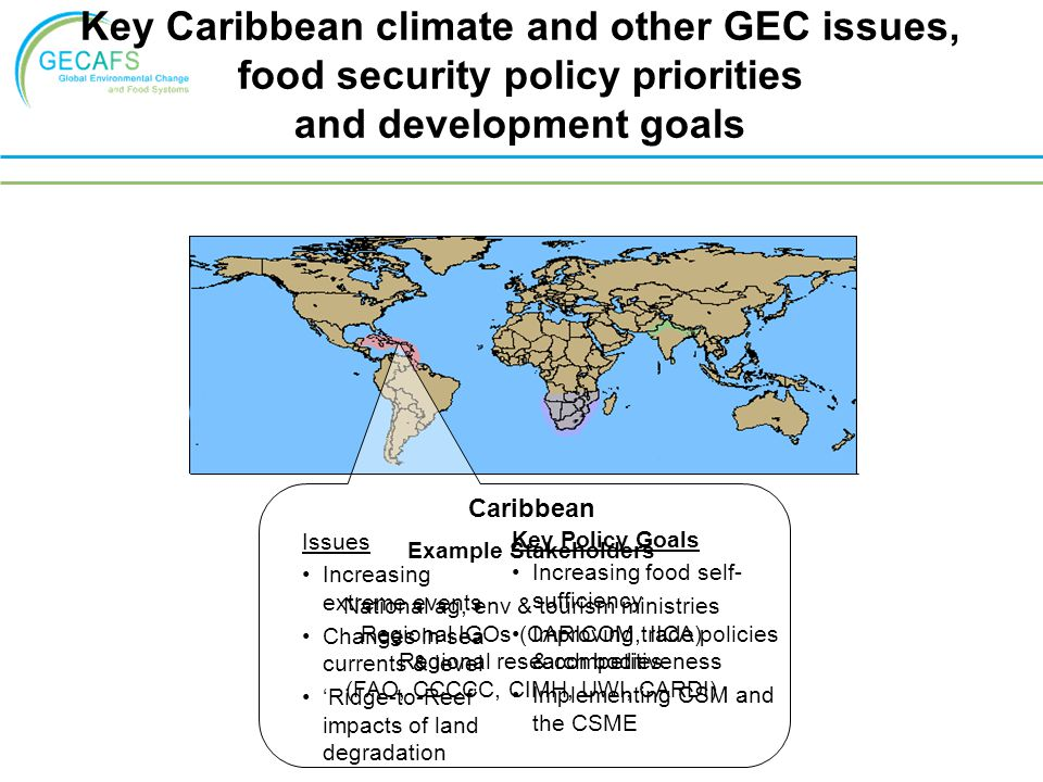 Key Caribbean climate and other GEC issues,