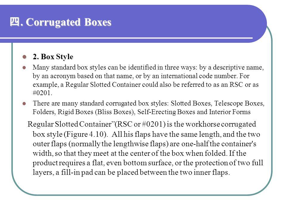 四. Corrugated Boxes 2. Box Style.