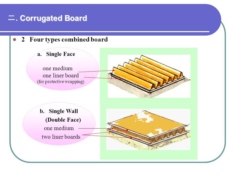 二. Corrugated Board 2 Four types combined board a. Single Face