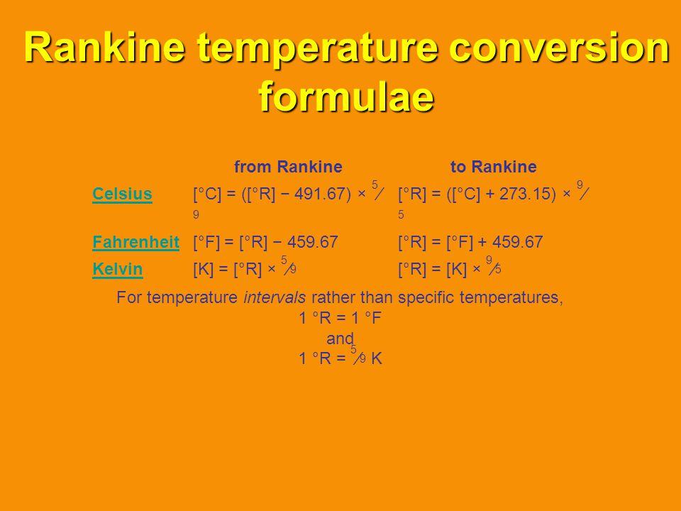 Rankine temperature conversion formulae