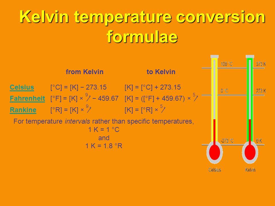 Kelvin temperature conversion formulae