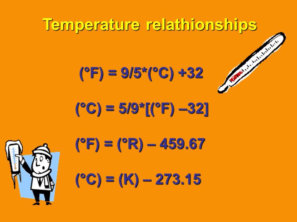 Temperature relathionships