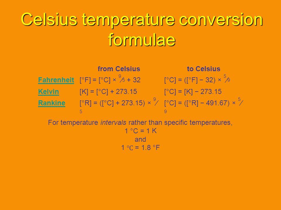 Celsius temperature conversion formulae