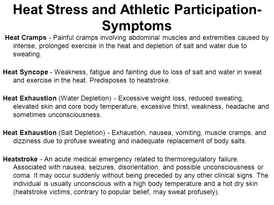 Heat Stress and Athletic Participation-Symptoms