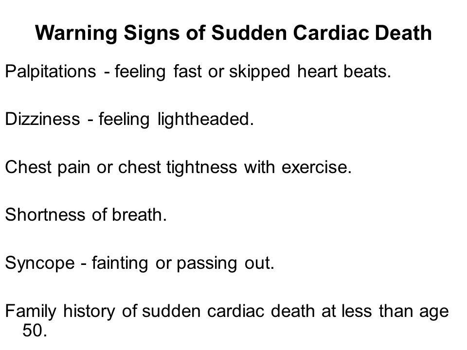 Warning Signs of Sudden Cardiac Death
