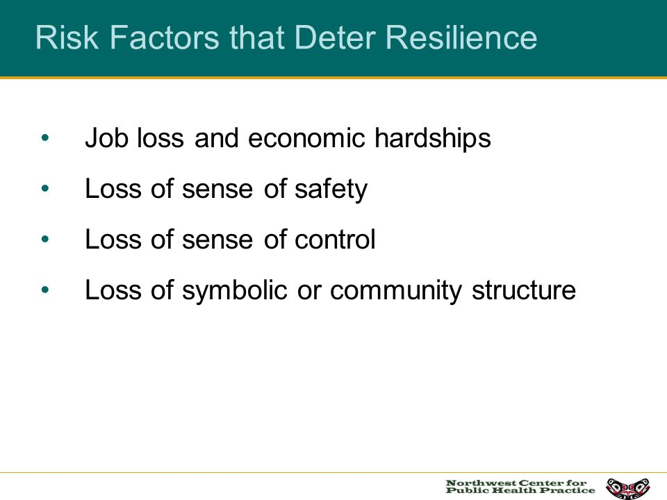 Risk Factors that Deter Resilience
