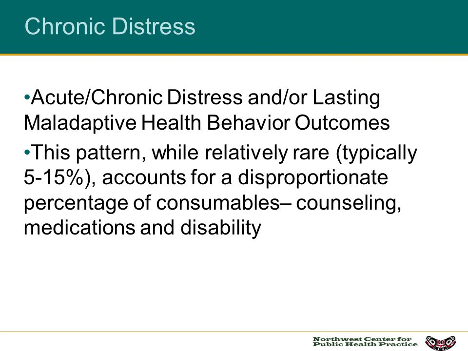 Chronic Distress Acute/Chronic Distress and/or Lasting Maladaptive Health Behavior Outcomes.
