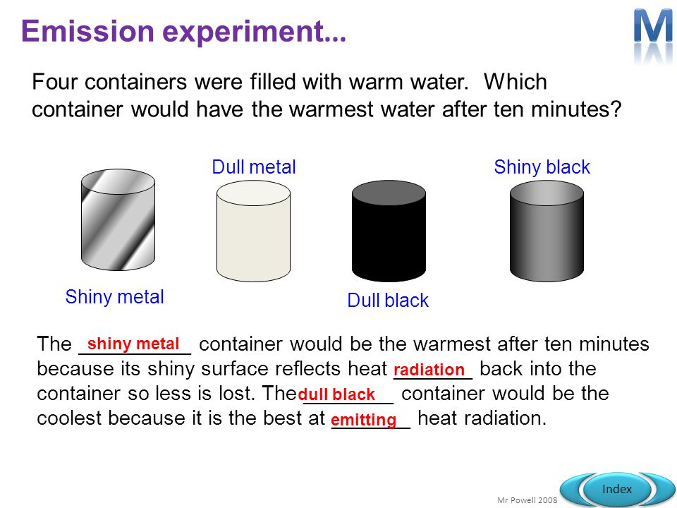M Emission experiment... Four containers were filled with warm water. Which container would have the warmest water after ten minutes