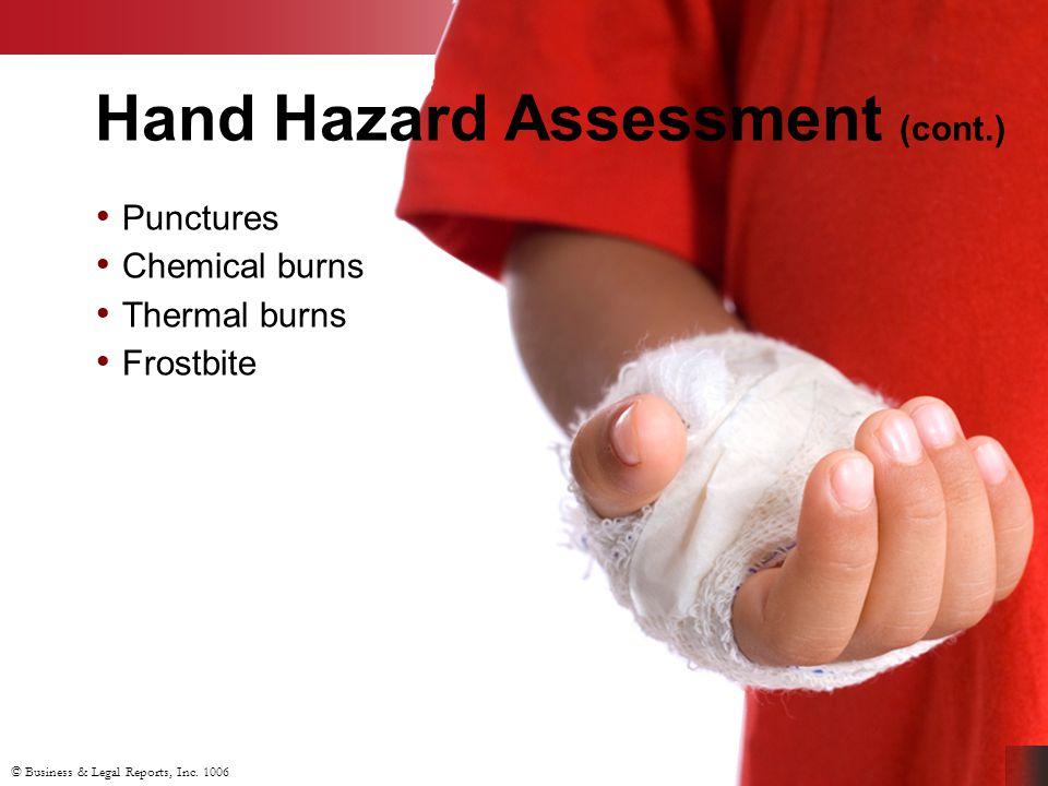 Hand Hazard Assessment (cont.)