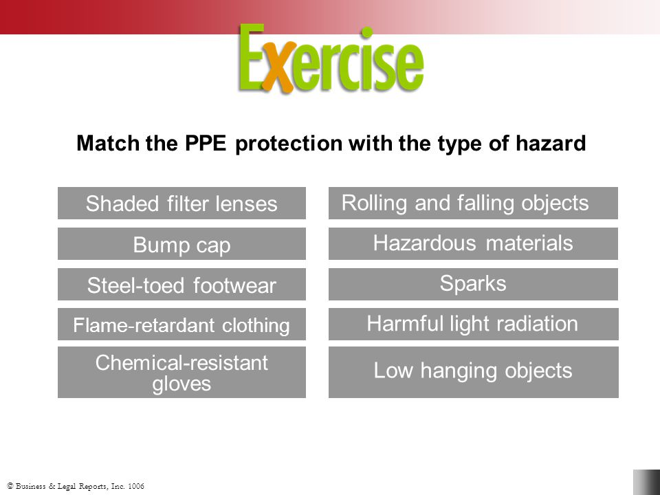 Match the PPE protection with the type of hazard