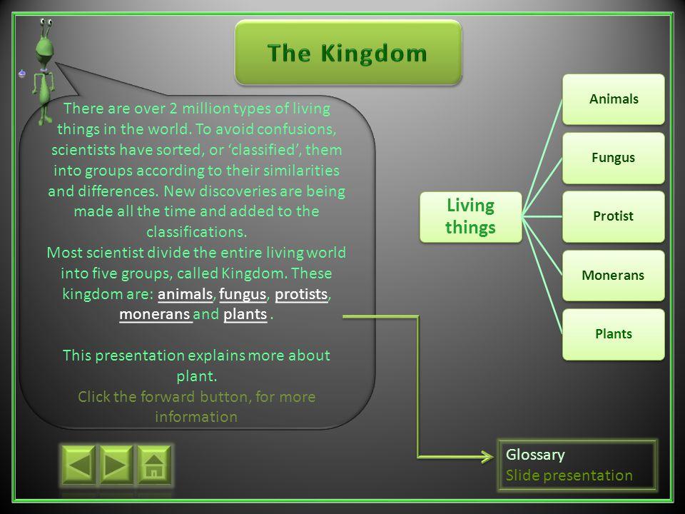 The Kingdom Living things. Animals. Fungus. Protist. Monerans. Plants.