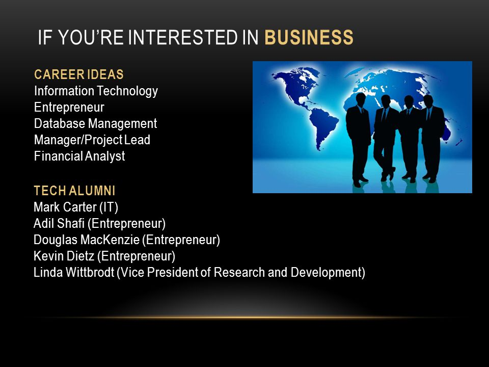 If you're Interested in Business