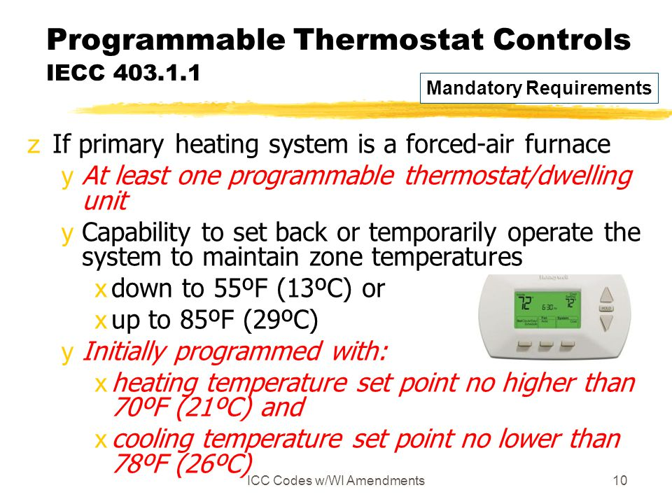 Programmable Thermostat Controls IECC 403.1.1