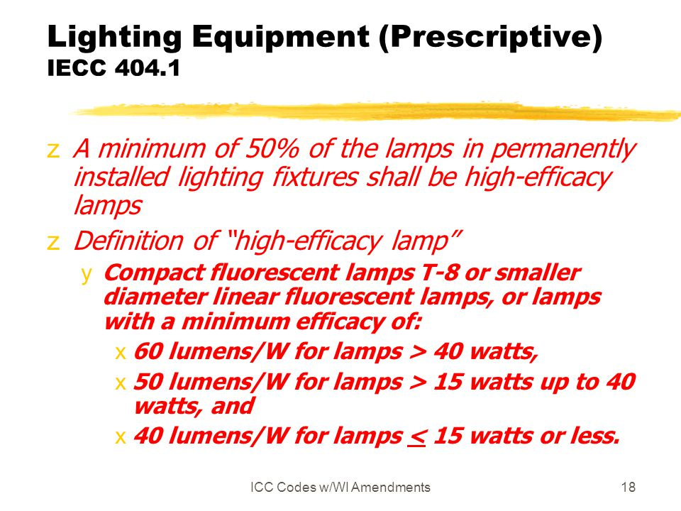 Lighting Equipment (Prescriptive) IECC 404.1