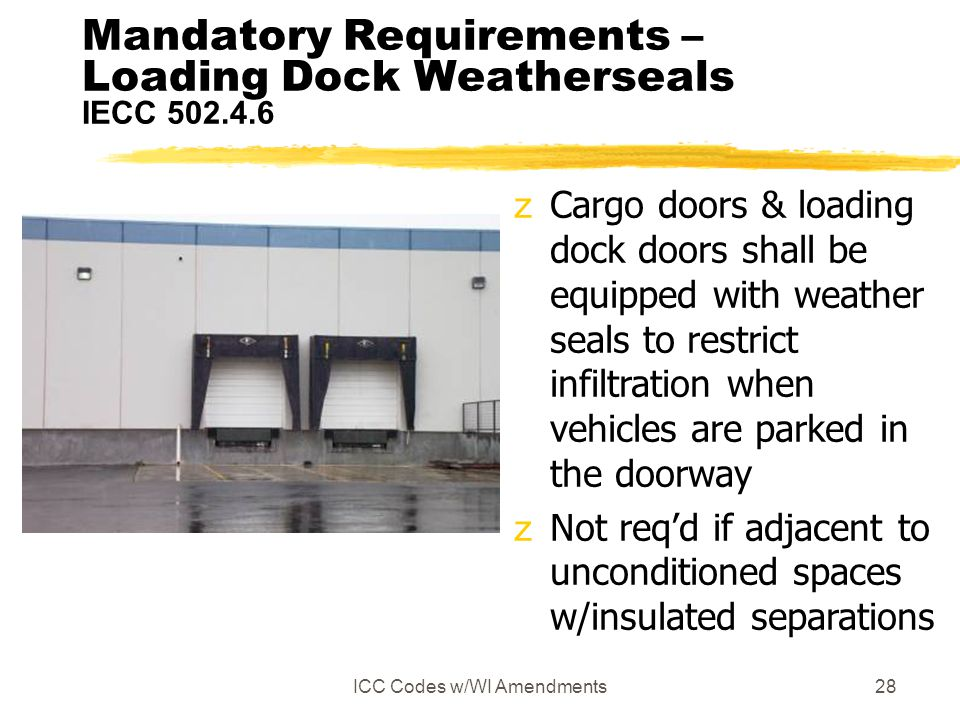 Mandatory Requirements – Loading Dock Weatherseals IECC 502.4.6