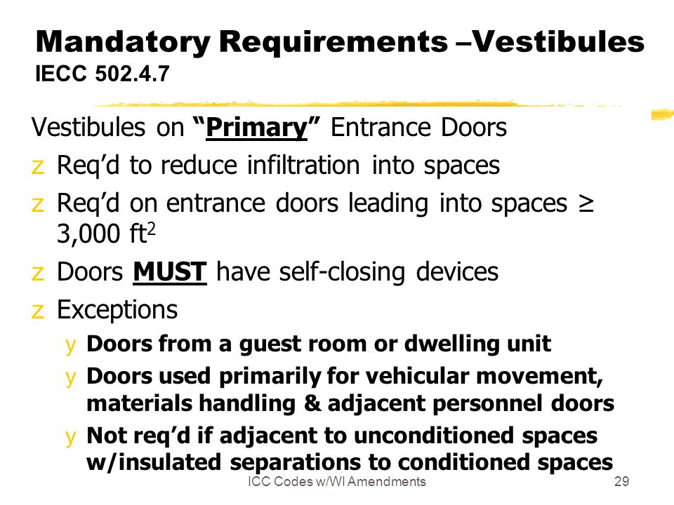 Mandatory Requirements –Vestibules IECC 502.4.7