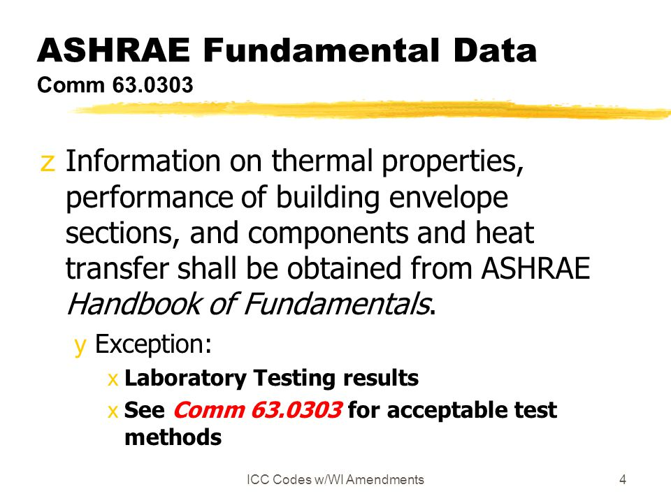 ASHRAE Fundamental Data Comm 63.0303