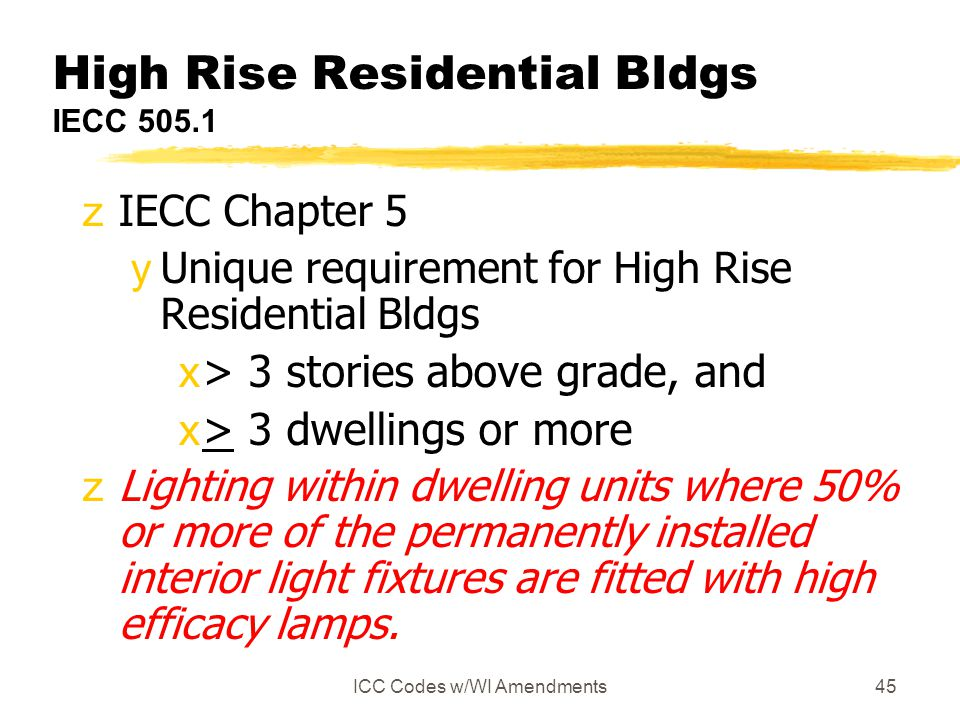 High Rise Residential Bldgs IECC 505.1