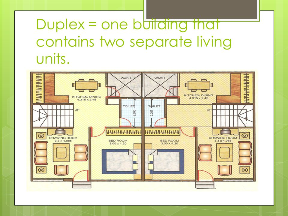 Duplex = one building that contains two separate living units.