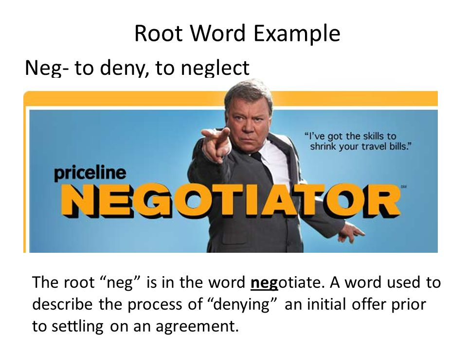 Root Word Example Neg- to deny, to neglect