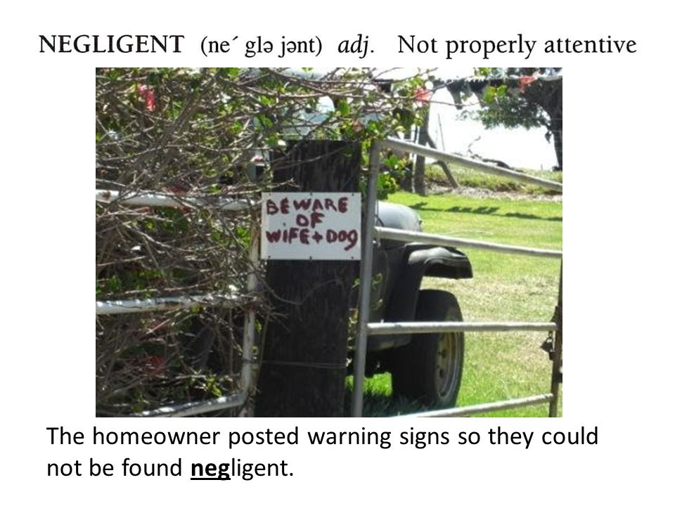 The homeowner posted warning signs so they could not be found negligent.