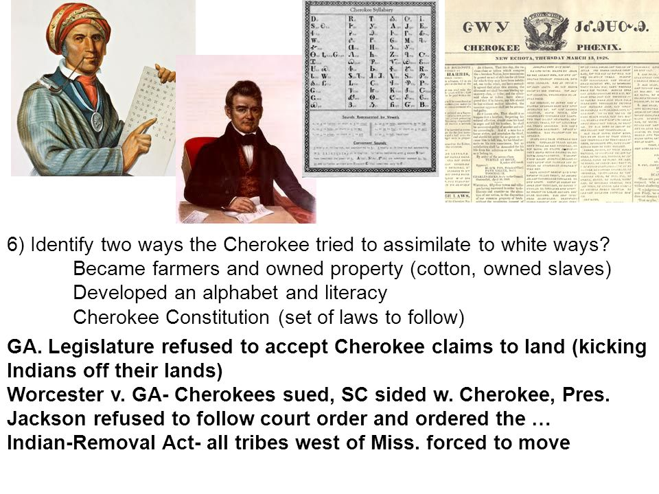 6) Identify two ways the Cherokee tried to assimilate to white ways