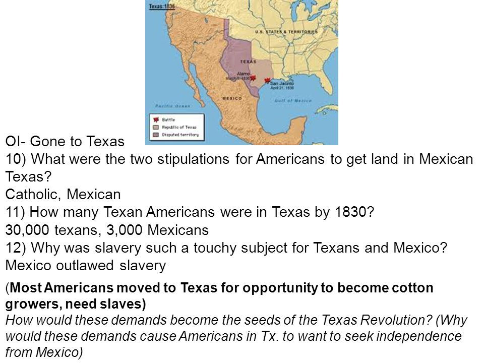 11) How many Texan Americans were in Texas by 1830