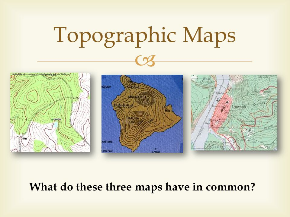 Topographic Maps What do these three maps have in common