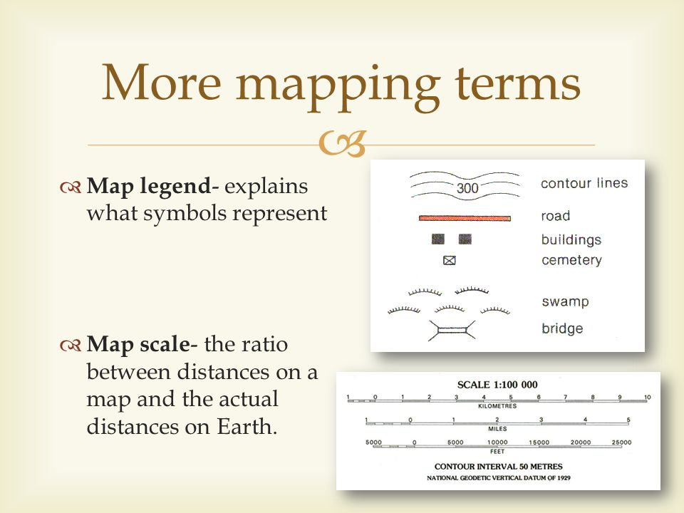 More mapping terms Map legend- explains what symbols represent
