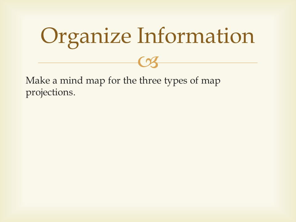 Organize Information Make a mind map for the three types of map projections.