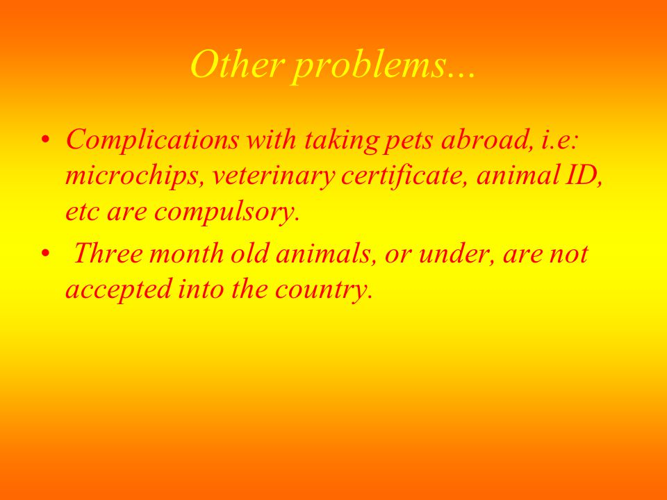 Other problems... Complications with taking pets abroad, i.e: microchips, veterinary certificate, animal ID, etc are compulsory.