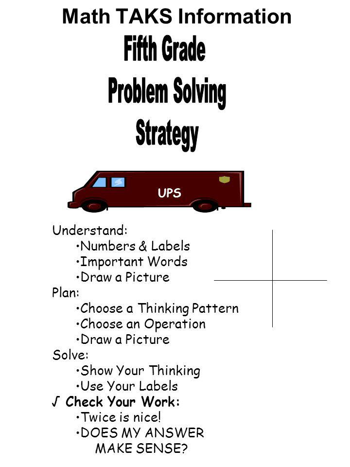 Fifth Grade Problem Solving Strategy Math TAKS Information Understand: