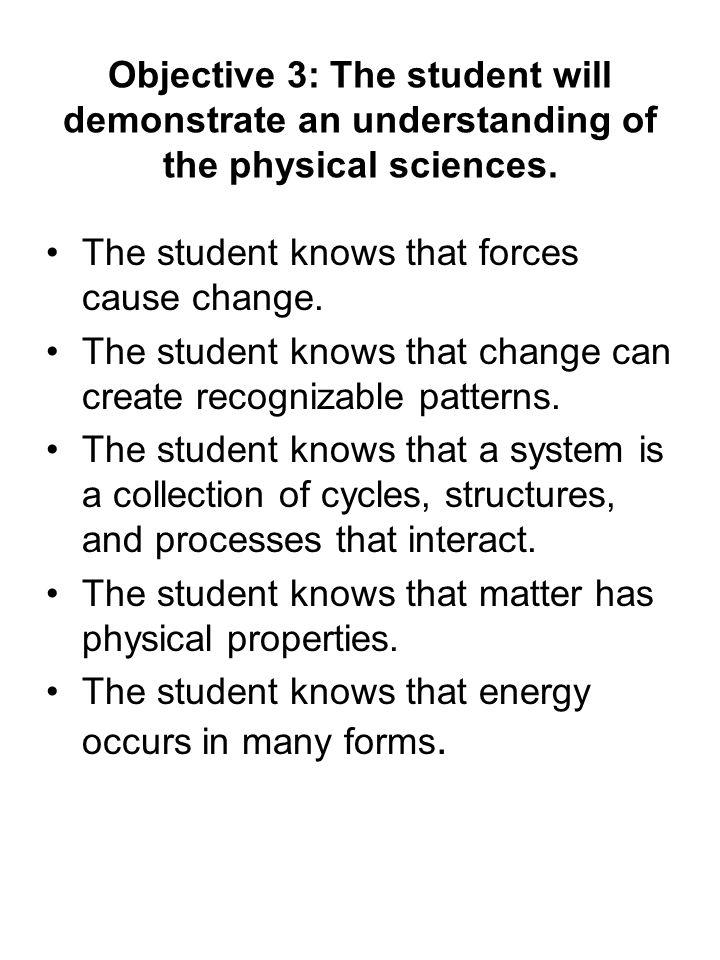 Objective 3: The student will demonstrate an understanding of the physical sciences.