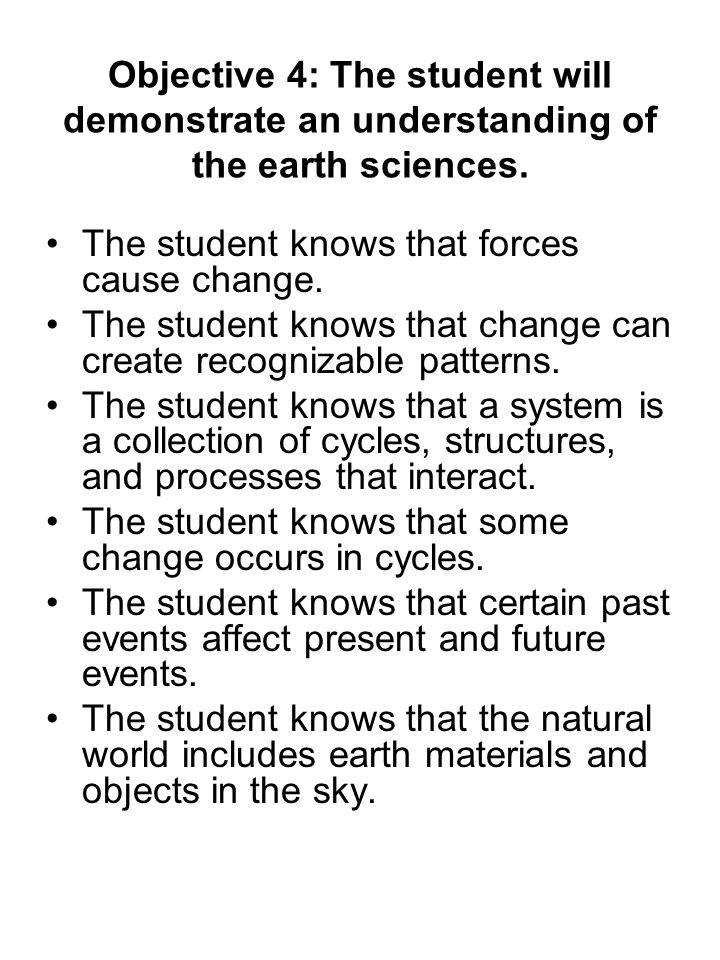 Objective 4: The student will demonstrate an understanding of the earth sciences.