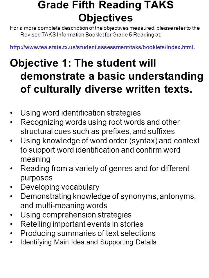 Grade Fifth Reading TAKS Objectives