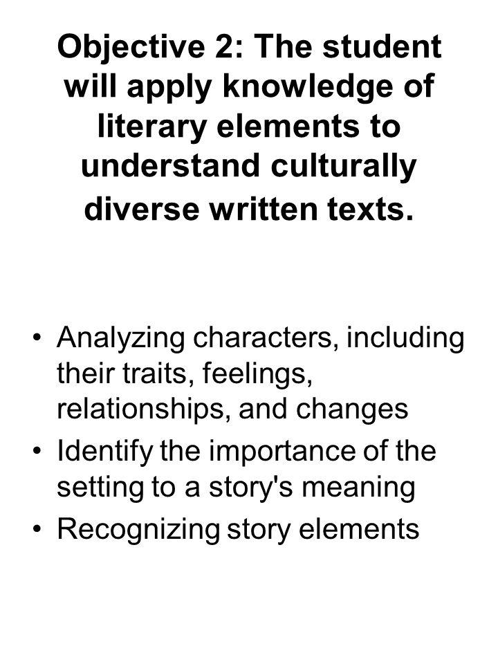 Objective 2: The student will apply knowledge of literary elements to understand culturally diverse written texts.