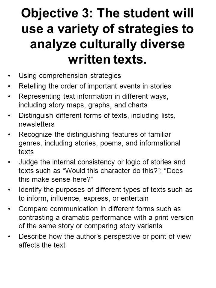Objective 3: The student will use a variety of strategies to analyze culturally diverse written texts.