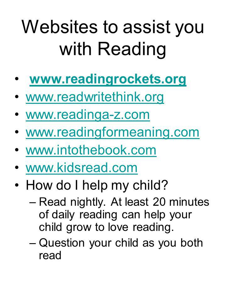 Websites to assist you with Reading