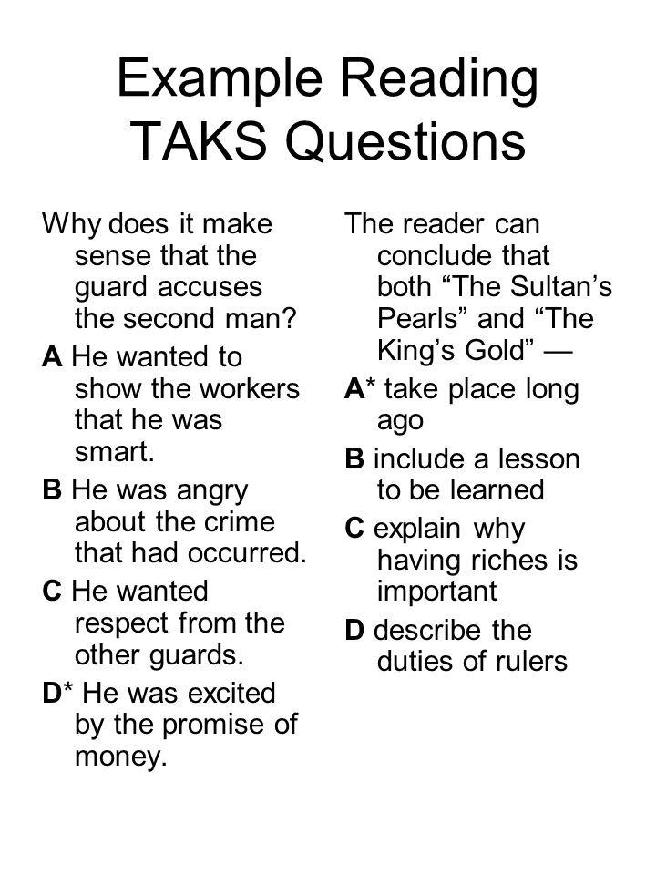 Example Reading TAKS Questions