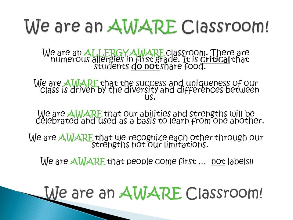 We are an AWARE Classroom!