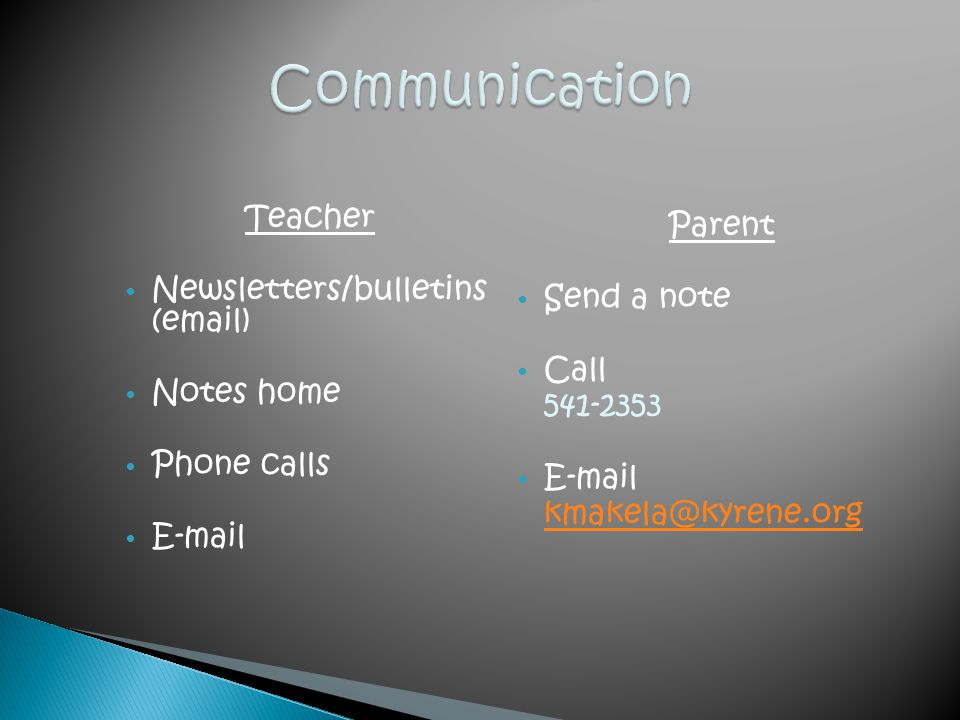 Communication Teacher Parent Newsletters/bulletins (email) Send a note
