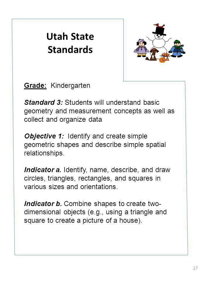 Utah State Standards Grade: Kindergarten
