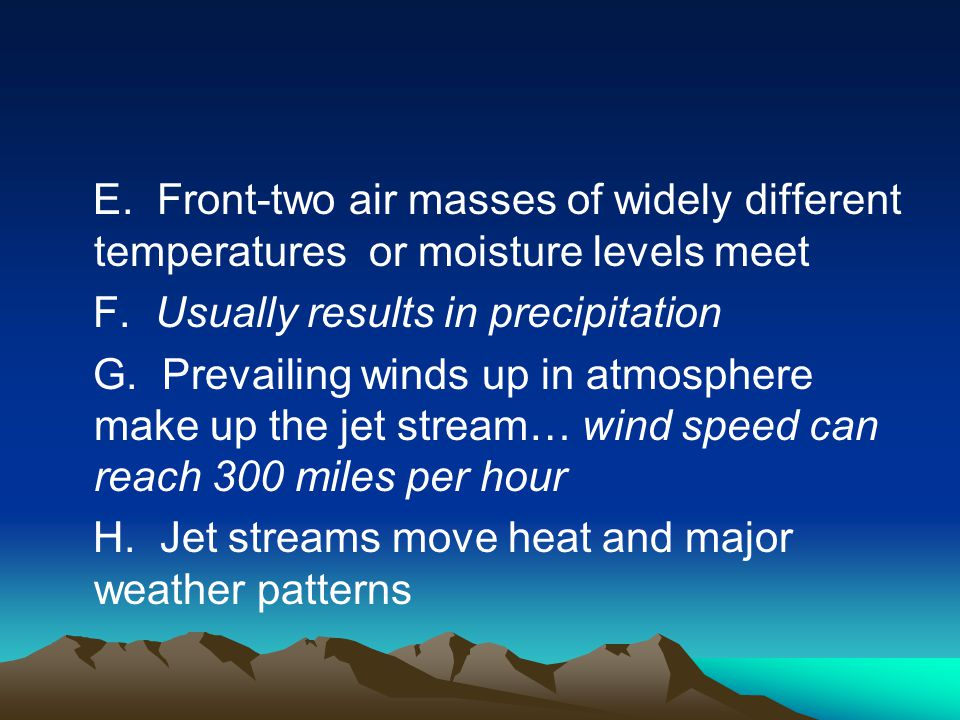 E. Front-two air masses of widely different temperatures or moisture levels meet
