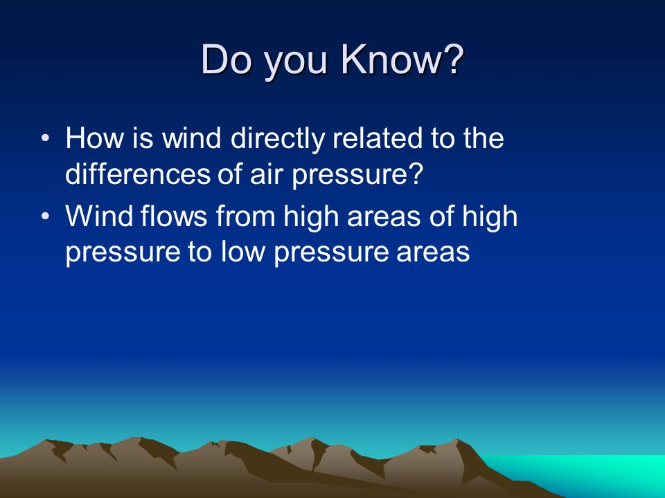 Do you Know. How is wind directly related to the differences of air pressure.